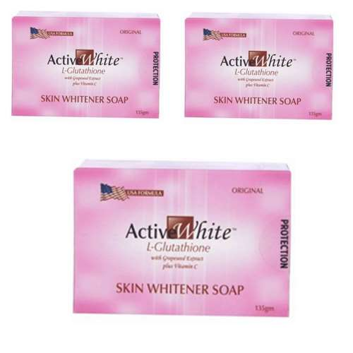 Active White L Glutathione Skin Whitener Soap Pack of 3 | Healthcare Beauty
