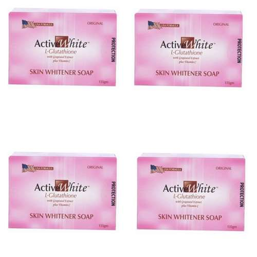 Active White L Glutathione Skin Whitener Soap Pack of 4 | Healthcare Beauty